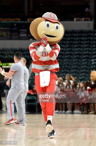 The Ohio State Buckeyes mascot performs during the game against the Maryland Terrapins during the Championship game of Big Ten Women's Basketball...