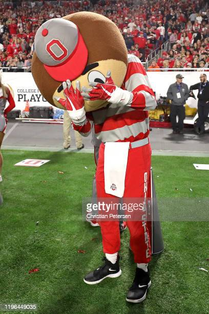 The Ohio State Buckeyes mascot reacts against the Clemson Tigers in the College Football Playoff Semifinal at the PlayStation Fiesta Bowl at State...