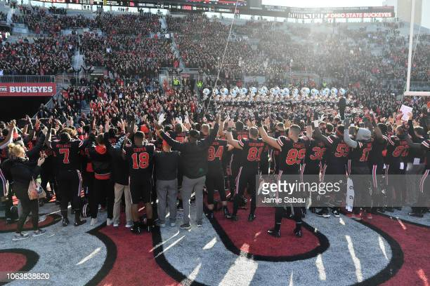 The Ohio State Buckeyes perform their alma mater song after a victory over the Nebraska Cornhuskers at Ohio Stadium on November 3 2018 in Columbus...