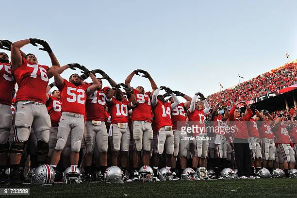 The Ohio State Buckeyes sing their alma mater Carmen Ohio after defeating the Wisconsin Badgers 3113 at Ohio Stadium on October 10 2009 in Columbus...
