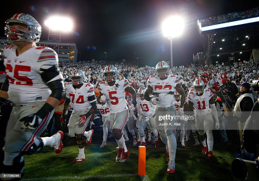 The Ohio State Buckeyes take the field during the game against the Penn State Nittany Lions on October 22, 2016 at Beaver Stadium in State College, Pennsylvania.