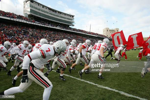 The Ohio State Buckeyes take the field prior to the start of a game against the Northwestern Wildcats on November 11 2006 at Ryan Field in Evanston...