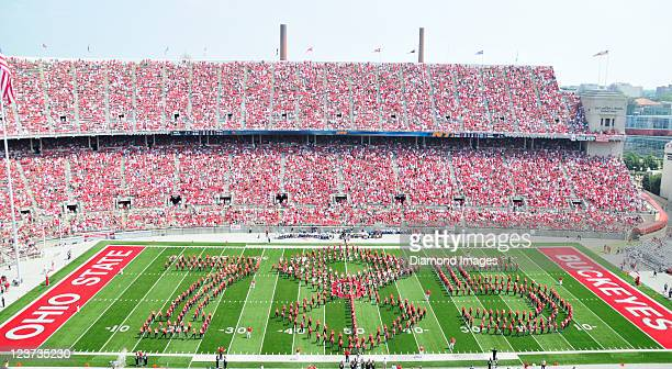 The Ohio State University marching band performs during half time during a game with the Akron Zips at Ohio Stadium in Columbus Ohio The Buckeyes won...