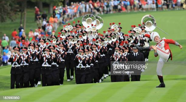 The Ohio State University marching band plays prior to the start of the Day One FourBall Matches at the Muirfield Village Golf Club on October 3 2013...