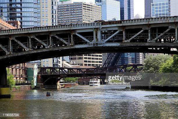 The Ohio Street and Grand Avenue bridges over the Chicago River in Chicago Illinois on JUNE 12 2011