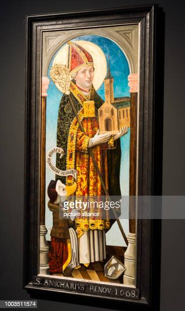 The oil painting 'Ansgar und Rimduck' is displayed at the special exhibition 'DUCKOMENTA' in the Archäologisches Museum Hamburg Germany 07 June 2017...