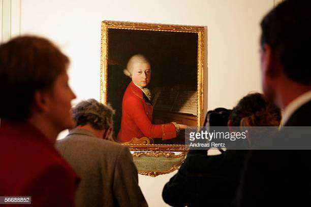 The oil painting 'Mozart in Verona' painted by Saverio Dalla Rosa in 1770 and on loan from Jean Cortot is seen through a camera at the residential...