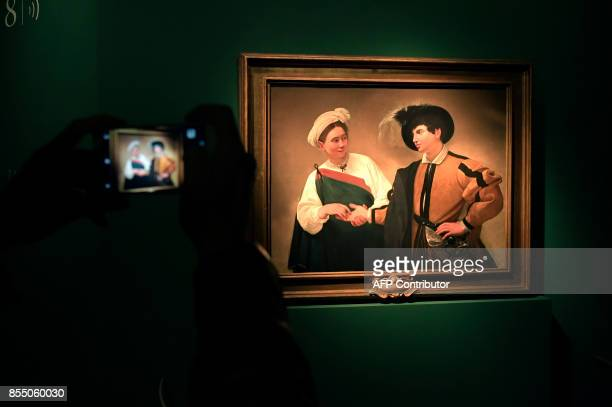The oil painting on canvas called La Buona Ventura by Italian painter Michelangelo Merisi better known as Caravaggio is displayed during the press...