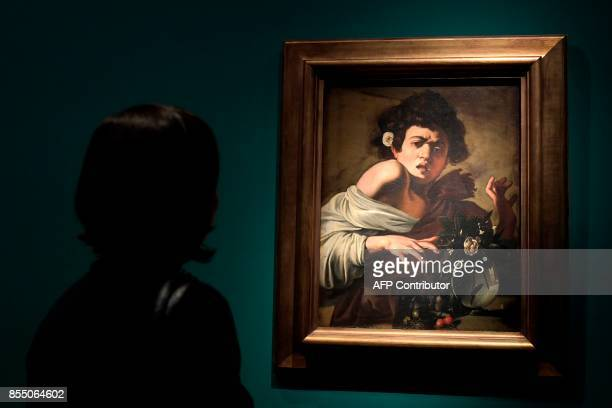 The oil painting on canvas called 'Ragazzo morso dal ramarro' by Italian painter Michelangelo Merisi better known as Caravaggio is displayed during...