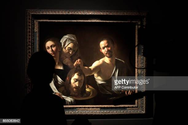 The oil painting on canvas called 'Salome con la testa del Battista' by Italian painter Michelangelo Merisi better known as Caravaggio is displayed...