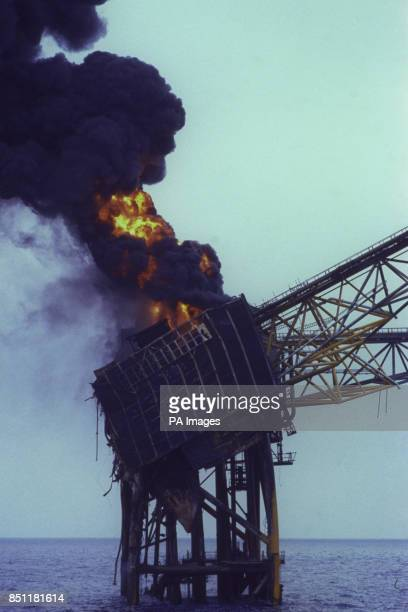 The oil production platform Piper Alpha on fire in the North Sea *Low res scan hi res scan on request