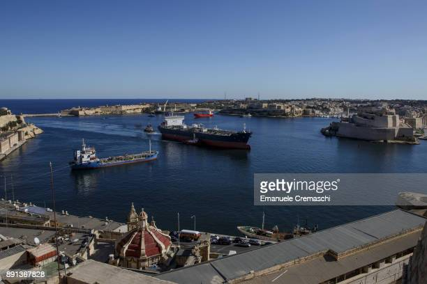 The oil products tanker SCF Amur sails into the Grand Harbour on December 7 2017 in Valletta Malta Valletta a fortified town that dates back to the...