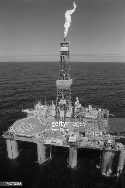 The oil rig Deepsea Pioneer, a floating production facility in the Argyll oil field in the North Sea, 19th June 1985.