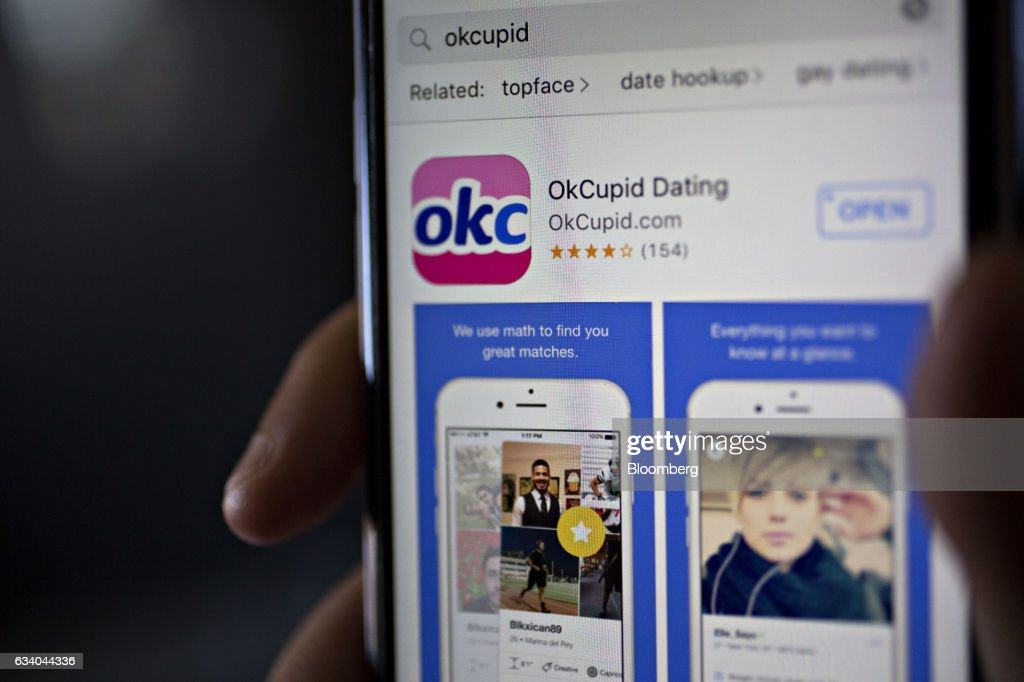 The OkCupid application is displayed in the Apple Inc. App Store on an iPhone in Washington, D.C., U.S., on Saturday, Feb. 4, 2017. IAC/InterActiveCorp, parent of Match Group Inc. which operates a number of dating services including OkCupid, beat analysts estimates for revenue and profit in the fourth quarter when figured were released on January 31. Photographer: Andrew Harrer/Bloomberg via Getty Images