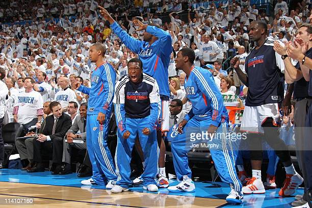 The Oklahoma City Thunder Bench reacts to a play against the Memphis Grizzlies in Game Five of the Western Conference Semifinals during the 2011 NBA...