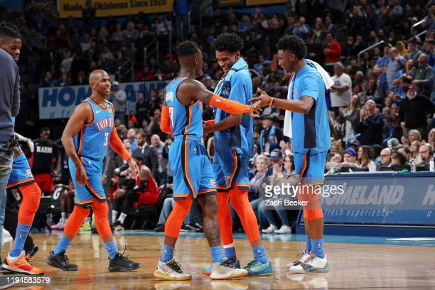 The Oklahoma City Thunder celebrate during the game against the Portland Trail Blazers on January 18, 2020 at Chesapeake Energy Arena in Oklahoma...