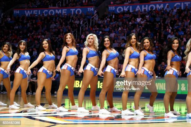 The Oklahoma City Thunder dancers perform their routine during the game against the Chicago Bulls on February 1 2017 at Chesapeake Energy Arena in...