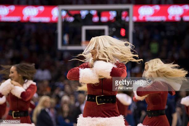 The Oklahoma City Thunder Girls dance during the first quarter of a NBA game against the Chicago Bulls at the Chesapeake Energy Arena on December 25...