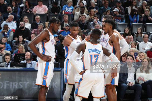 The Oklahoma City Thunder huddle up during the game against the Portland Trail Blazers on January 22 2019 at Chesapeake Energy Arena in Oklahoma City...