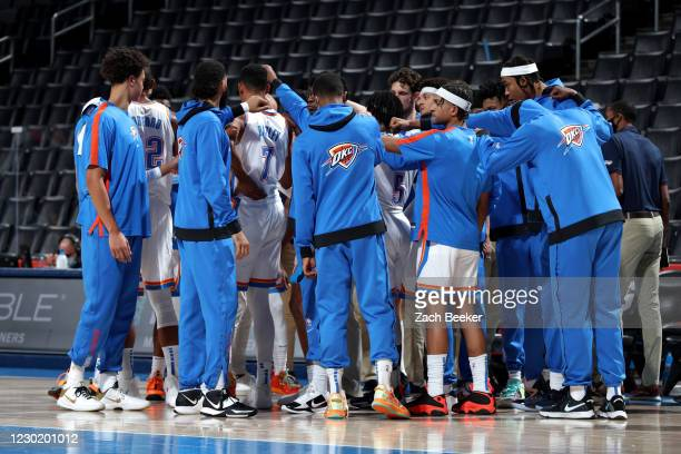 The Oklahoma City Thunder huddle up during the game against the Chicago Bulls on December 18, 2020 at Chesapeake Energy Arena in Oklahoma City,...