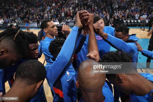 The Oklahoma City Thunder huddle up prior to a game against the Miami Heat on January 17, 2020 at Chesapeake Energy Arena in Oklahoma City, Oklahoma....