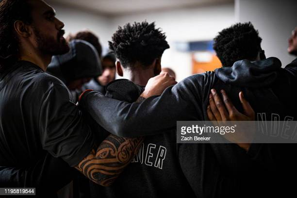 The Oklahoma City Thunder huddles up before the game against the Orlando Magic on January 22, 2020 at Amway Center in Orlando, Florida. NOTE TO USER:...