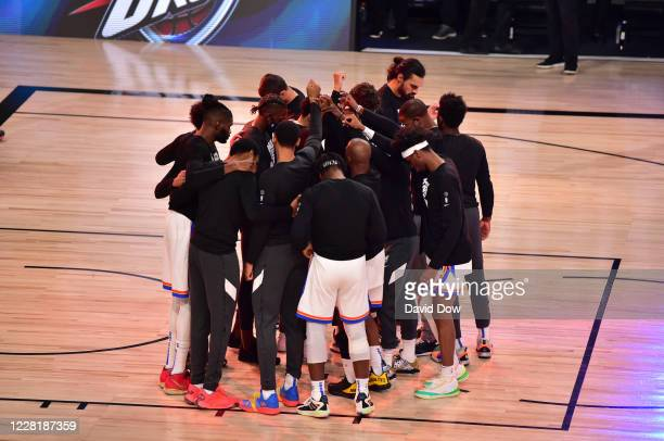 The Oklahoma City Thunder huddles up prior to the game against the Houston Rockets for Game four of the first round of the 2020 Playoffs as part of...
