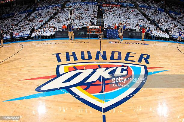 The Oklahoma City Thunder logo sits on display on the court before the team played the Memphis Grizzlies in Game Five of the Western Conference...
