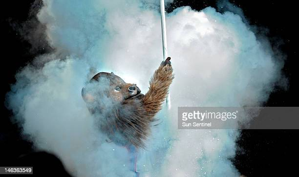 The Oklahoma City Thunder mascot prior to the start of Game 2 of the NBA Finals against the Miami Heat on Thursday June 14 at Chesapeake Energy Arena...