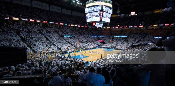 The Oklahoma City Thunder play the Utah Jazz during the second half of game 2 of the Western Conference playoffs at the Chesapeake Energy Arena on...
