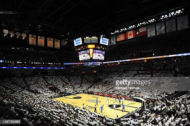 The Oklahoma City Thunder take the ball upcourt against the San Antonio Spurs in Game Five of the Western Conference Finals of the 2012 NBA Playoffs...