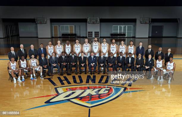The Oklahoma City Thunder team poses for a team photo on March 30 2017 at the Integris Health Thunder Development Center in Edmond Oklahoma NOTE TO...