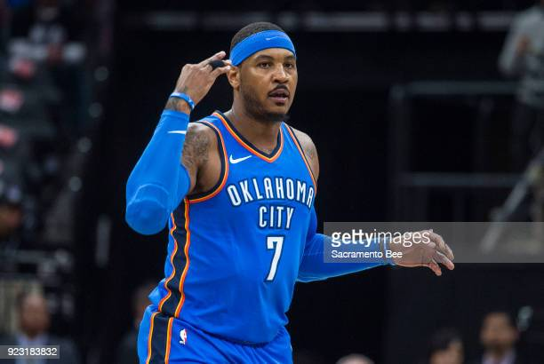 The Oklahoma City Thunder's Carmelo Anthony celebrates a 3point basket against the Sacramento Kings at Golden 1 Center in Sacramento Calif on...