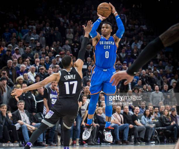 The Oklahoma City Thunder's Russell Westbrook hits a buzzerbeater for a 110107 win against the Sacramento Kings at Golden 1 Center in Sacramento...
