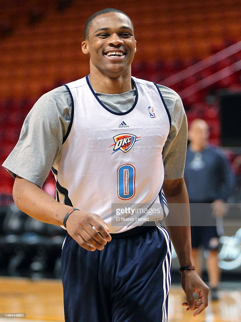 separation shoes 96762 684ae The Oklahoma City Thunder's Russell Westbrook practices for ...