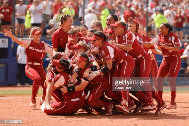 The Oklahoma Sooners celebrate their win during Game 3 of the Women's College World Series Championship against the Florida St. Seminoles at USA...