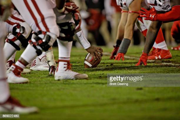The Oklahoma Sooners line up against the Texas Tech Red Raiders at Gaylord Family Oklahoma Memorial Stadium on October 28 2017 in Norman Oklahoma...