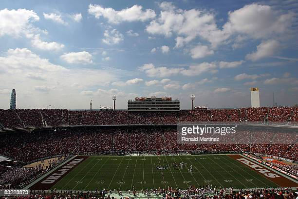 The Oklahoma Sooners play the Texas Longhorns during the Red River Rivalry at the Cotton Bowl on October 11 2008 in Dallas Texas