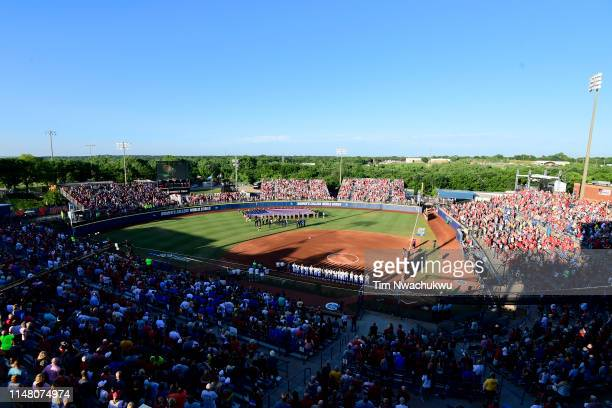 The Oklahoma Sooners take on the UCLA Bruins during the Division I Women's Softball Championship held at ASA Hall of Fame StadiumOGE Energy Field on...