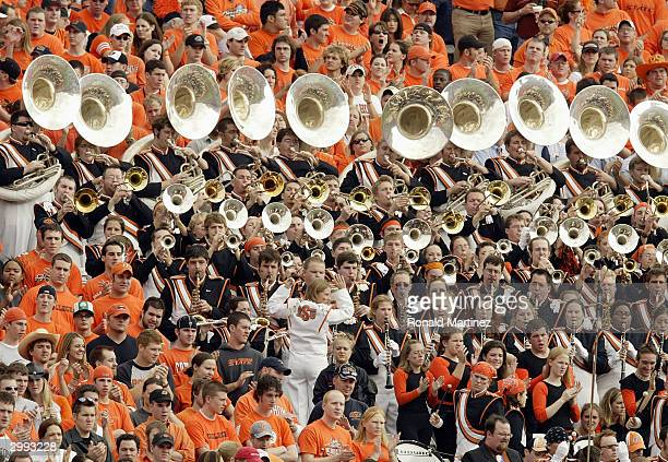The Oklahoma State Cowboys band plays for the fans during the SBC Cotton Bowl against the Mississippi Rebels during on January 2 2004 at the Cotton...
