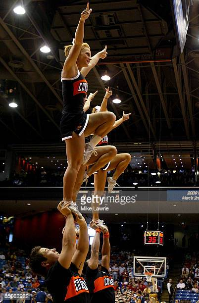 The Oklahoma State Cowboys cheerleaders perform during a game against the Pittsburgh Panthers during the second round of the NCAA Division I Men's...
