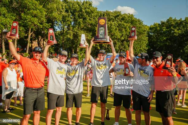 The Oklahoma State men's golf team poses after winning the Division I Men's Golf Team Match Play Championship held at the Karsten Creek Golf Club on...