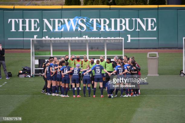 The OL Reign team gets together before a NWSL match between the Chicago Red Stars and OL Reign on April 27, 2021 at Cheney Stadium in Tacoma, WA