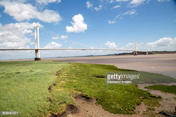 The old 1960s Severn bridge crossing between Beachley and Aust Gloucestershire England UK looking east