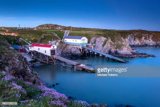 The old and new St Davids lifeboat stations at St Justinians on the Pembrokeshire coast path.
