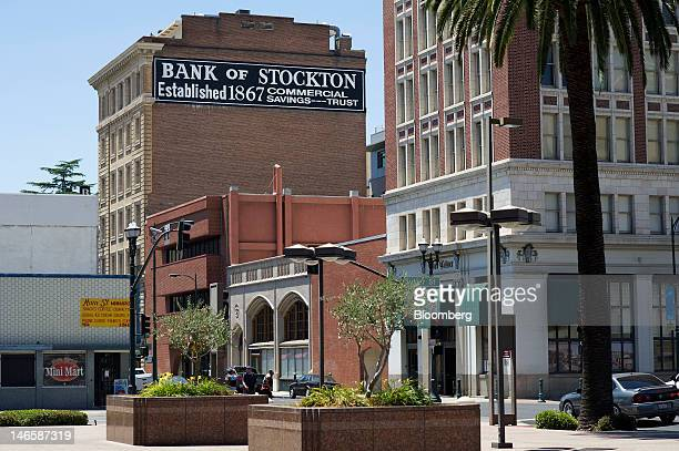 The old Bank of Stockton building stands in Stockton, California, U.S., on Friday, June 15, 2012. The city may have to decide next week whether to...