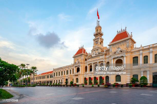 the old building is the landmark in ho chi minh, vietnam. - people's committee building ho chi minh city stock pictures, royalty-free photos & images