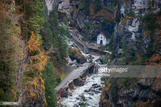 The old Church of Rocca Pietore italian Dolomites Belluno Province with the Serrai di Sottoguda destroyed and torn by bad weather on 7 November 2018