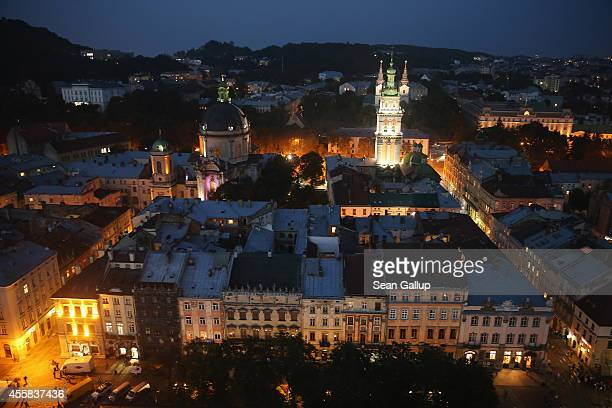 The old city center stands illuminated at night on September 15, 2014 in Lviv, Ukraine. Lviv, which is located in western Ukraine near the border to...