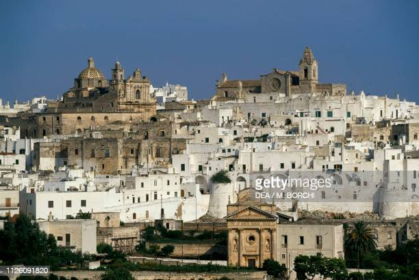 The old city center, with its typical white houses, Ostuni, Apulia, Italy.